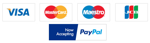 Payment Types Accepted - Visa, MasterCard, Maestro, JCB
