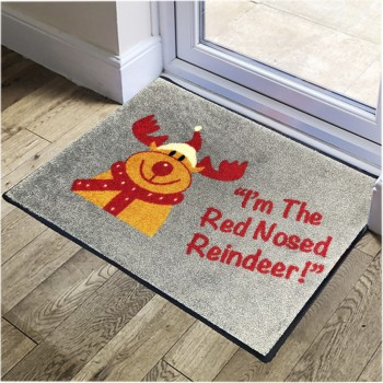 Red Nosed Reindeer Christmas Logo Mat